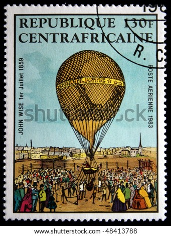 REPUBLIC OF SOUTH AFRICA - CIRCA 1983: A stamp printed in Republic of South Africa shows airship, circa 1983 - stock photo