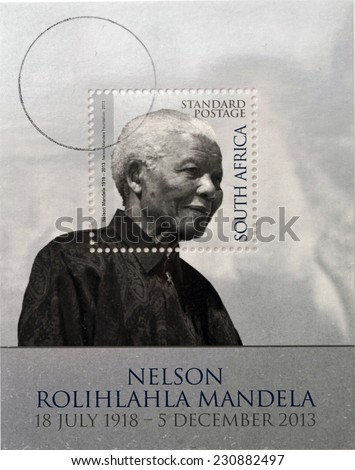 REPUBLIC OF SOUTH AFRICA - CIRCA 2014: A stamp printed in RSA shows Nelson Mandela, circa 2014 - stock photo