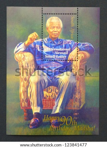 REPUBLIC OF SOUTH AFRICA - CIRCA 2008: postage stamp printed in Republic of South Africa showing an image of Nelson Mandela, circa 2008. - stock photo