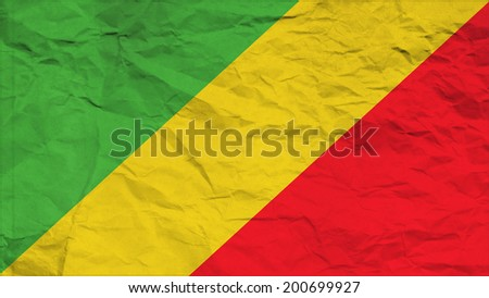 Republic of the Congo flag paper texture with seam - stock photo
