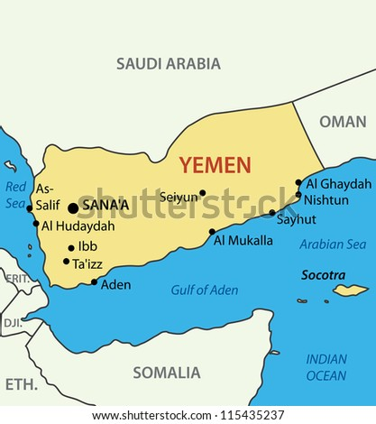 Republic of Yemen - map - stock photo