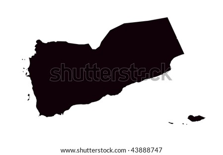 Republic of Yemen - white background - stock photo