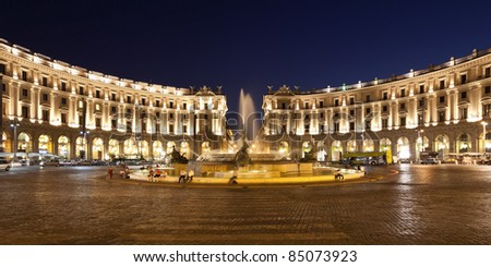 Republic Square in Rome at night. italy. - stock photo