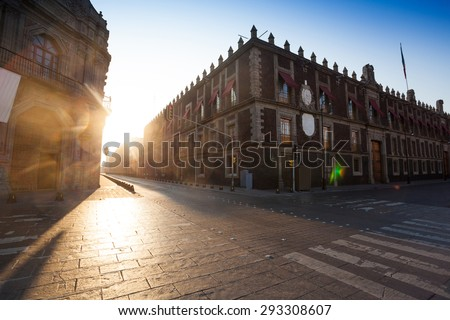 Republica de Brasil Street near church of Saint Domingo in Mexico capital city - stock photo