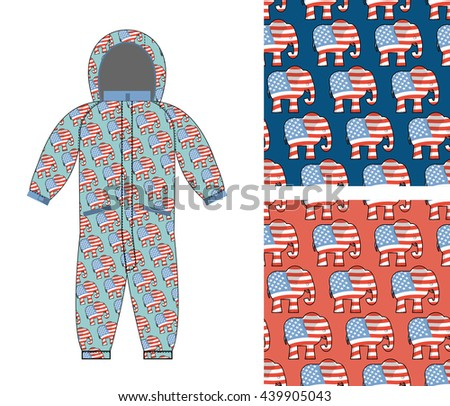 Republican baby Childrens clothing. Republican Elephant seamless pattern. Elephant texture. Symbol of  political party in America. Childrens Rompers design template. Suit for small Republican - stock photo