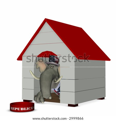 Republican represented by an elephant looking out of a doghouse with a red roof. Political humor. - stock photo