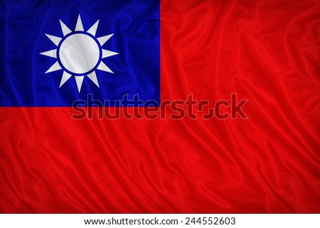 Republicof China(Taiwan) flag pattern on the fabric texture ,vintage style - stock photo