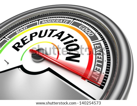 reputation conceptual meter, isolated on white background - stock photo