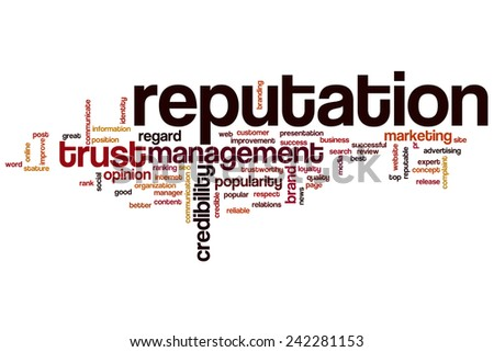 Reputation word cloud concept with crediblity brand related tags - stock photo