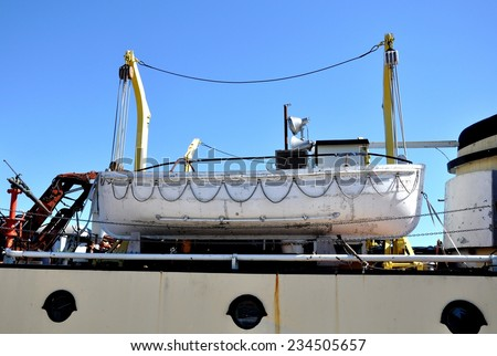 Rescue boat suspended in a ship - stock photo