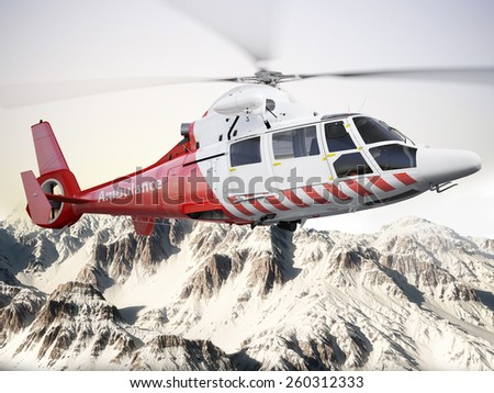 Rescue helicopter in flight over snow capped mountains with motion blur blades. Photo realistic 3d scene - stock photo