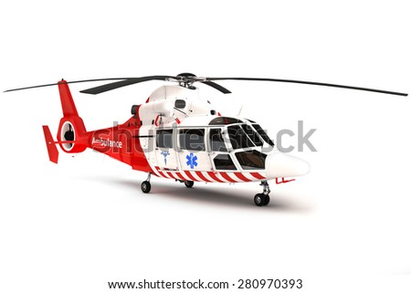 Rescue helicopter on a isolated white background - stock photo