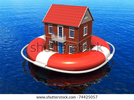 Rescue of real estate concept - stock photo