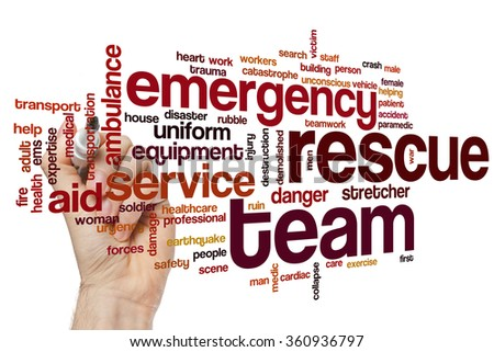 Rescue team word cloud - stock photo