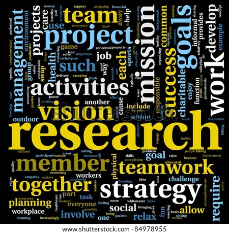Research and project concept in word tag cloud isolated on black - stock photo