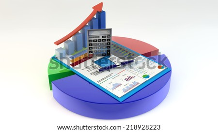 research concept: office calculator, bar graph, pen and eyeglasses on financial reports in clipboard on color pie chart isolated on white/Business Finance, Tax, Accounting, Statistics and Analytic - stock photo