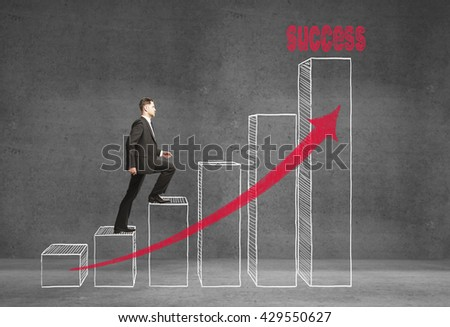 Research concept with businessman climbing on abstract business chart - stock photo