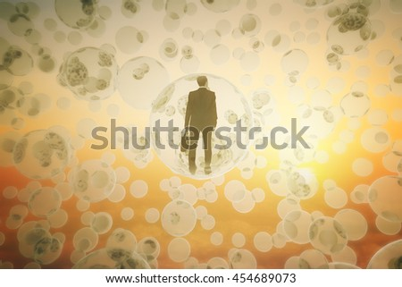 Research concept with businessman inside abstract bubbles in the sky at sunset. 3D Rendering - stock photo