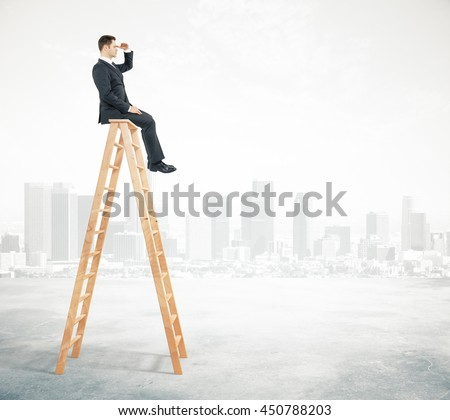 Research concept with businessman sitting on ladder top and looking into the distance on abstract city background - stock photo
