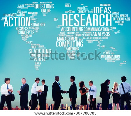 Research Data Facts Information Solutions Exploration Concept - stock photo