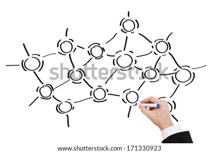 research, education, science and chemistry concept - close up of businessman drawing molecules - stock photo