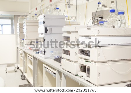 Research laboratory, no people, clean white, horizontal - stock photo
