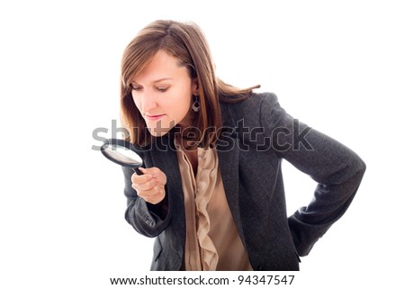Research or investigation concept, woman holding magnifying glass, isolated on white background. - stock photo