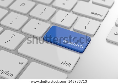 Research word button on keyboard with soft focus  - stock photo