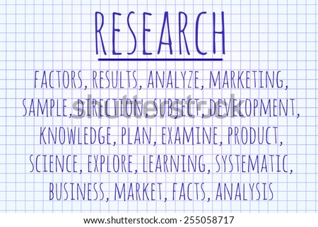 Research word cloud written on a piece of paper - stock photo