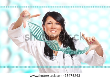 Researcher or a medic holding up a DNA strand. This could be also futuristic doctor using genetic engineering techniques known as recombinant DNA technology. - stock photo