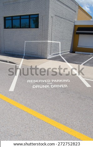 RESERVED PARKING FOR DRUNK DRIVER spot which is painted into the corner of a building showing the dangers of driving while drunk - stock photo