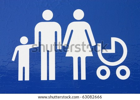 Reserved parking for parents with children. - stock photo