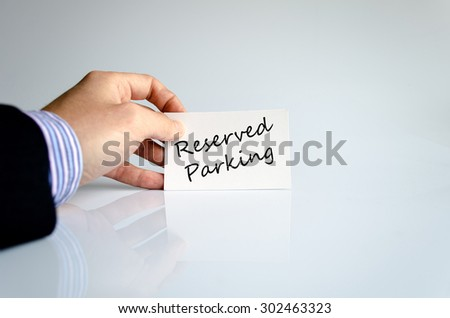 Reserved parking hand concept isolated over white background - stock photo