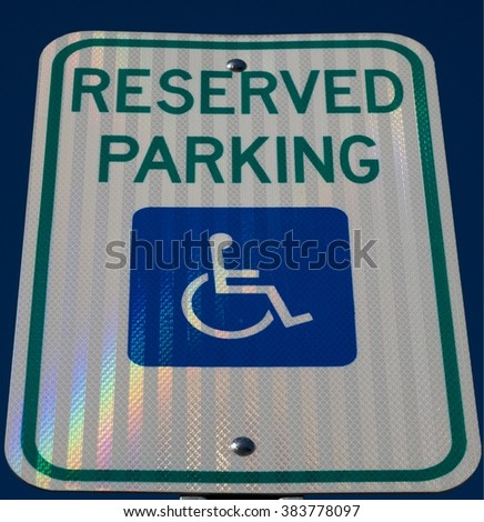 RESERVED PARKING SIGN FOR HANDICAPPED  - stock photo