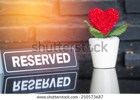 Reserved sign in  cafe - stock photo