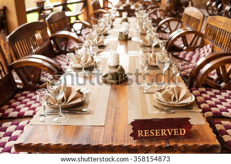 reserved table - stock photo