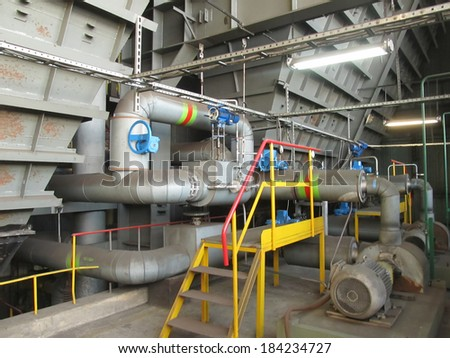 reservoir of carbon and other installations at the boiler - stock photo