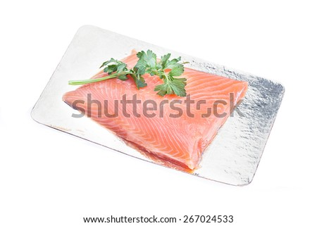 resh uncooked red fish fillet isolated on white background - stock photo
