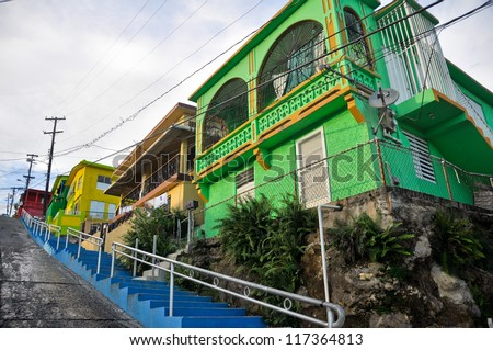 Residences in the suburb of Yauco (Puerto Rico) - stock photo