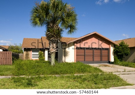 Resident abandoned due to foreclosure during recession - stock photo