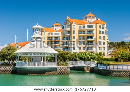 Residential apartments with private marina - stock photo