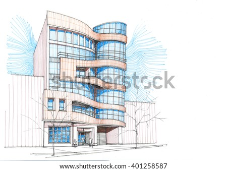 Residential building - Alternative 4 - stock photo