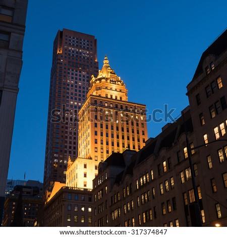 Residential building in Manhattan at dusk, New York. - stock photo