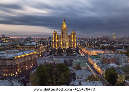 Residential building on Kudrinskaya Square in Moscow is made in Stalin empire style at night. - stock photo