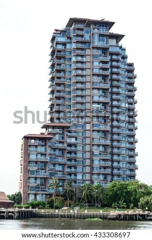 Residential buildings at bangkok thailand - stock photo