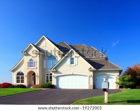 residential house in Minneapolis metro area, fall season - stock photo