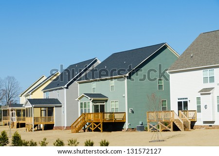 Residential houses row backyard view - stock photo