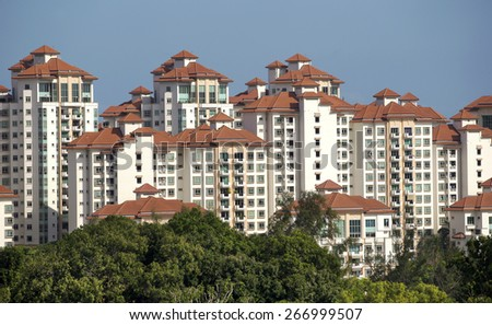 Residential neighborhood on East Coast, Singapore - stock photo