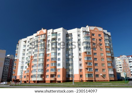 residential townhouses - stock photo