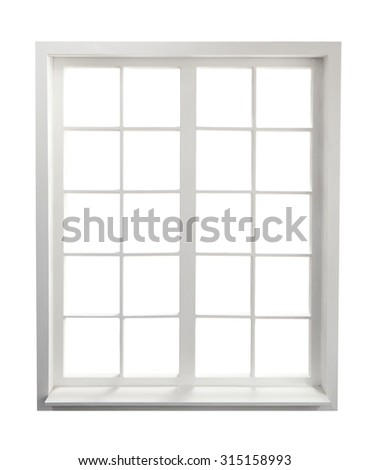 Residential window on white - stock photo